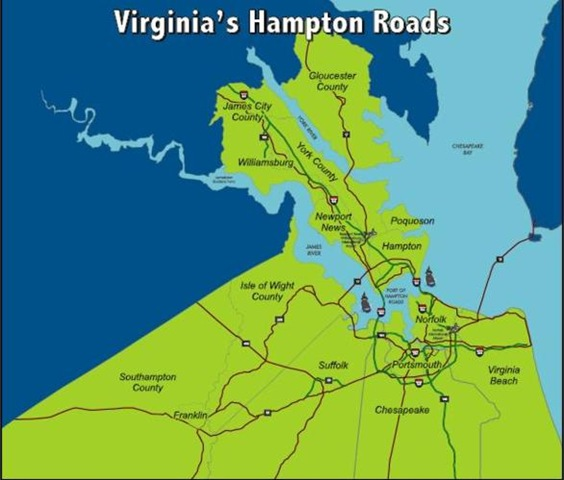 Where in the world is hampton roads and what is it mr map virginias hampton roads hampton roads va map the hampton roads region of southeastern virginia is gumiabroncs Gallery