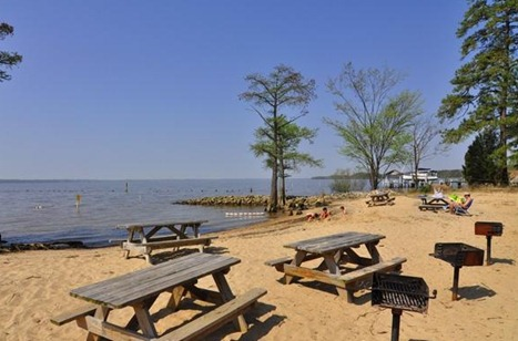 beachfront picnic tables