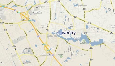 map of Coventry Yorktown VA