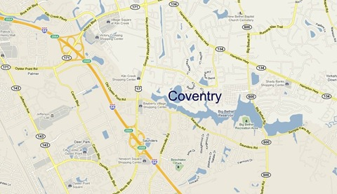 map of Coventry Yorktown VA