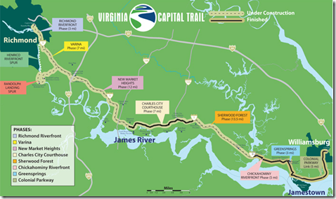 Virginia Capital Trail: Mountain bikers won't have all the fun this spring. Beth Weisbrod, executive director of the Virginia Capital Trail Foundation, said she expects construction to begin on the 13.5-mile Sherwood Forest Phase of the Richmond-to-Williamsburg bike and pedestrian path.
