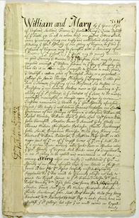 """College of William and Mary President James Blair brought both English and Latin versions of the twelve page Royal Charter establishing the college with him from the Court of William and Mary at Kensington Palace. This original copy of the charter establishing the College of William and Mary in Virginia was apparently lost about the time of the American Revolution. The most complete story of the Royal Charter of the College of William and Mary is found in Frank B. Evans' monograph on the subject published by the Botetourt Bibliographical Society in 1978. Professor Evans taught in the Department of English at the College. Professor Evans began his article with the statement: """"The story of the royal Charter granted in 1693 to found the College of William and Mary would be simpler, but less interesting, were it not for the story of a document which is lost."""""""