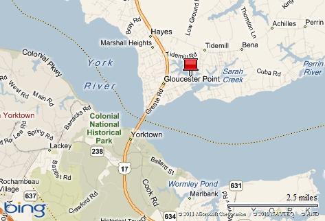 Location map Dockside Condos, Gloucester va