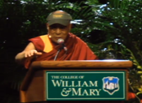 The Dalai Lama brought a message of peace and compassion yesterday to an audience of 8,200 at the College of William and Mary in Williamsburg VA.