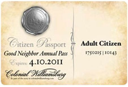 Annual, Good Neighbor and Collegiate pass members of Colonial Williamsburg can bring their friends and family for FREE beginning November 1 through December 15, 2014. Limit 10 tickets per household.