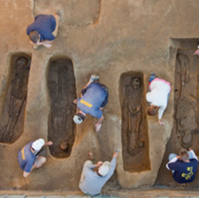 A team of archaeologists and scientists from the Jamestown Rediscovery Foundation at Historic Jamestowne and the Smithsonian's National Museum of Natural History  has identified the remains of four men buried in a church discovered recently at Jamestown dating to 1608. This church is also where Pocahontas married John Rolfe. The identification of the men – The Rev. Robert Hunt, Captain Gabriel Archer, Sir Ferdinando Wainman, and Captain William West – reveals new information about the leaders of Jamestown, Virginia, the first permanent and successful English colony in America, and sheds new light on the role of religion in the colony.